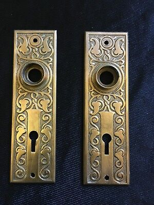 ANTIQUE Pair Of Russell And Erwin Amarat Brass Design BACKPLATE Very Ornate