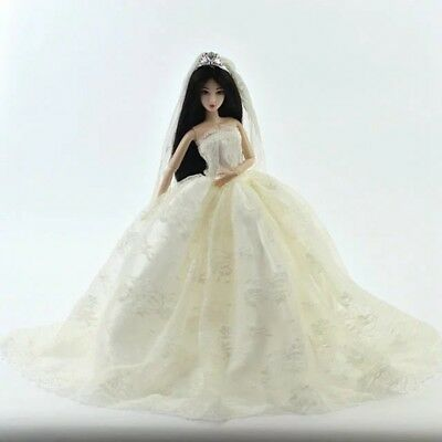 USA Fashion White Wedding Gown Lace Embroidery Dress Veil Outfit for Barbie Doll