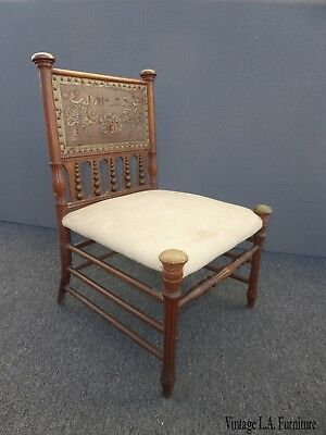 Vintage Indonesian Style Embossed Leather w Brass Finials  Accent Chair ~ Unique