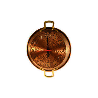 Wall clock copper burnished with pot pan 23 cm