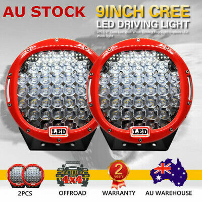 2 X 9inch 99999W Round Cree LED Spot Lights Work Driving Lights OFFROAD Red