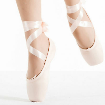 Pink Girls Ballet Dance Toe shoes Professional Ladies Satin Pointe Shoes Silk US