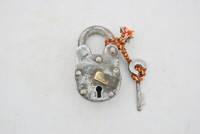 Old Vintage Iron Padlock Door Lock With Key Collectible Rare lock Home Saftey