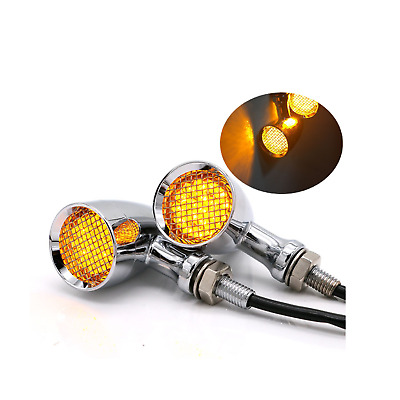 2x Chrome Grill LED Turn Signal indicator Light Harley sportster dyna touring XL