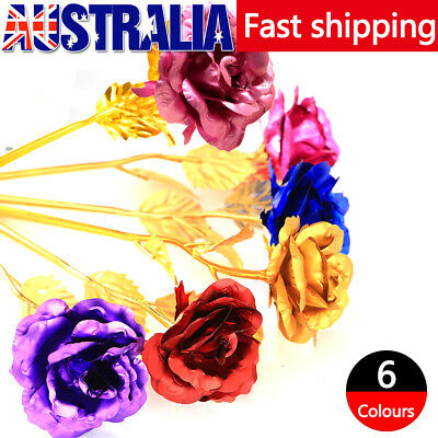 24k Gold Plated Rose Unique Flower Romantic Gift for Mum Lover Girlfriend+Box AU