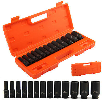 "13Pcs 1/2"" Drive Deep Impact Socket Set Metric Garage Workshop Air Tools 10~32mm"
