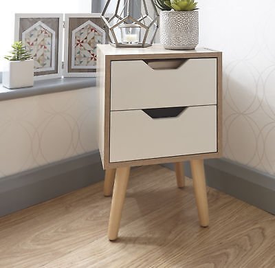 Designer Bedside Cabinet 2 Drawer Oak Veneer Bedroom Furniture Solid Wood Legs