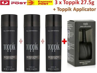 3x Genuine TOPPIK (82.5g) Hair Loss Building Fibers + Toppik Applicator > Caboki