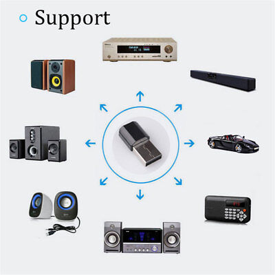 USB Wireless Bluetooth 3.5mm AUX Audio Speaker Stereo Music Receiver Home