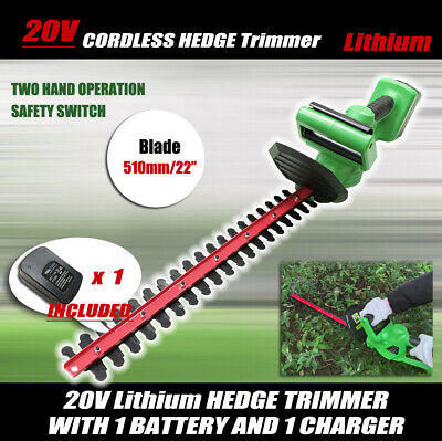 "20V Cordless Hedge Trimmer Lithium-Ion Electric Garden Tool 22""/510MM,W/Battery"