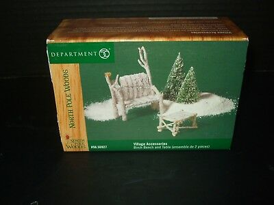 Dept 56 North Pole Woods Birch Bench and Table Christmas Village Accessories