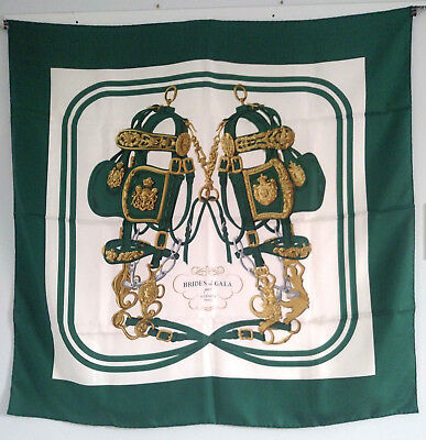 "HERMES SILK SCARF EQUESTRIAN ""BRIDES DE GALA"" DESIGN in DARK GREEN & WHITE  90cm"