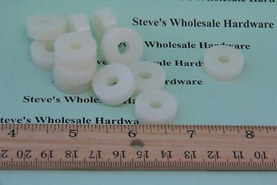 "Nylon Spacer  3/4""OD  1/4""ID  1/4"" Thick Natural White Pick Your Quantity"