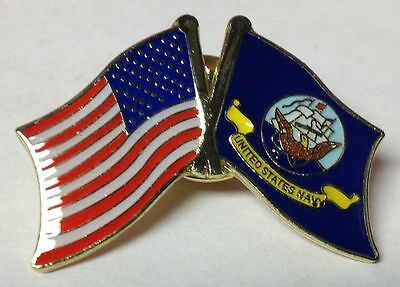 United States Flag and United States Navy Flag Lapel Hat Cap Pin NEW