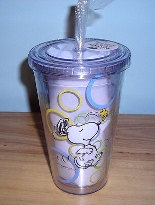 New ~ Snoopy Tall Hot Cold Drink Cup Coffee Travel Mug ~ Bpa Free ~ Double Wall
