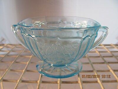 Blue Depression glass Mayfair Open Rose Sugar Bowl...not perfect