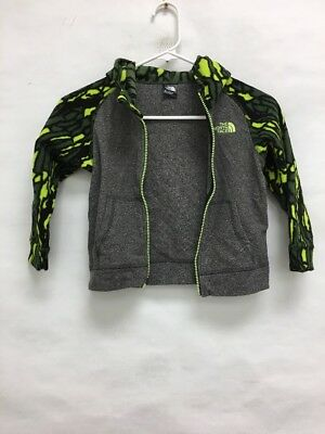 USED The North Face Full Zip Fleece Jacket Grey/Green Toddler Sz:4T (sb)