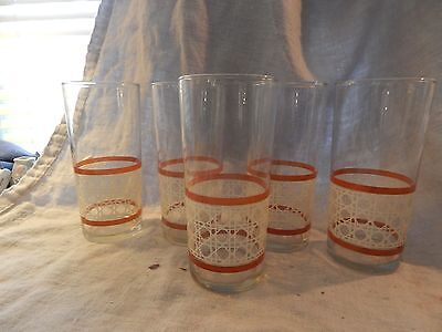 """Set of 5 Libbey Checkered Pattern Brown and White Glasses Midcentury MCM 6.25"""""""