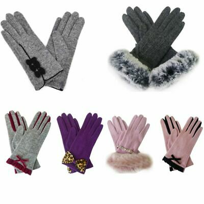 New Womens Designer Style Wool Gloves Ladies Winter Gloves Free UK Delivery