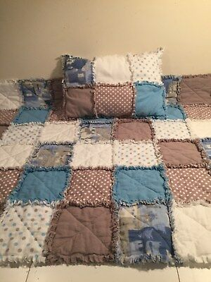 Baby Rag Quilt for boy. Blue, grays, and white. Beautiful handmade.