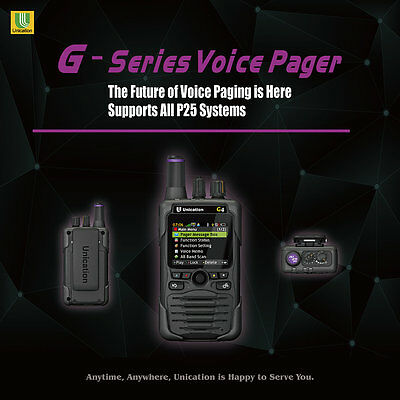 UNICATION G4 7/800Mhz P25 DIGITAL PAGER RECEIVER SCANNER MINITOR 5 V VI 6 APX