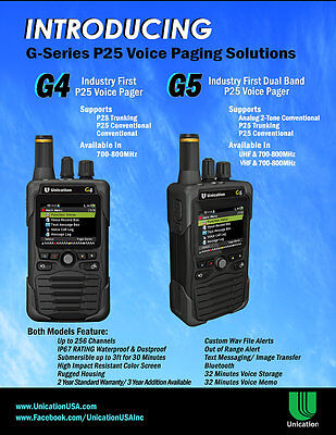 UNICATION  G5 VHF or UHF & 7/800Mhz P25 DIGITAL PAGER SCANNER MINITOR V 5 VI 6