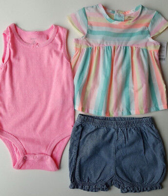fdf333fe4 Carters Baby Girl 3 Pc Striped Top Pink Bodysuit Bubble Shorts Set 18m NWT
