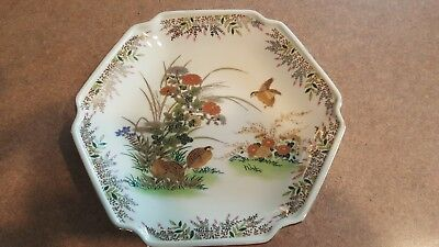 "Vintage Otagiri 7 1/2"" Decorative Hexagonal Plate W/ Partridge Motif - Japan"