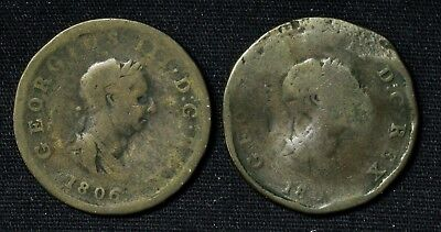 Lot of 2 Great Britain Half 1/2 Penny George III 1806 and 1800?