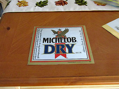 """RARE VINTAGE """" MICHELOB DRY """" BEER  6"""" X 7"""" from 1989 MAN CAVE SIGN STICKER"""
