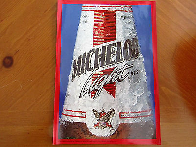 """MICHELOB LIGHT BEER from ANHEUSER BUSCH 10"""" X 7"""" from 1992 MAN CAVE SIGN STICKER"""