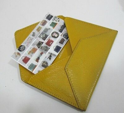 Authentic Hermes Mustard  Yellow Chevre Envelope Mini Wallet or Card Case