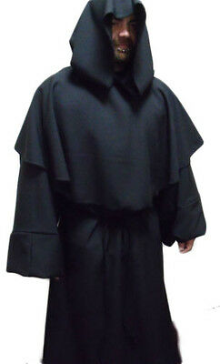 Wool Type Heavy Fabric Monk Robe Medieval Costume With Cowl And Large Hood