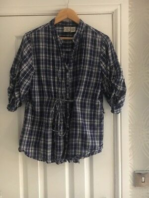 Ladies Vintage DCC Woman 1X Blue White Checked Shirt