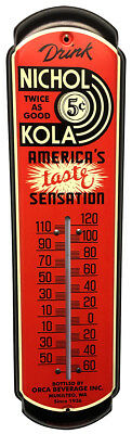 Nichol Kola Soda Thermometer Vintage Old Style Cola Metal Sign