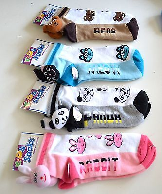 Kids SOCKS Panda Bear RABBIT Meow CAT Gray Pink Blue BROWN CHOOSE One SIZE New