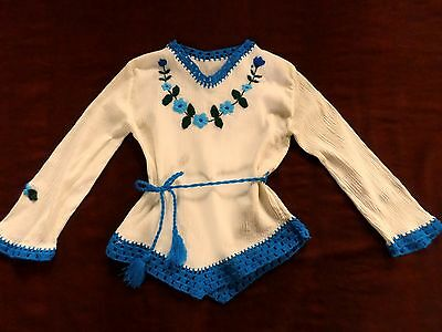 Vintage 70's Mexican Girl's Top Crochet Gauze Turquoise White Size 7 8 Like New