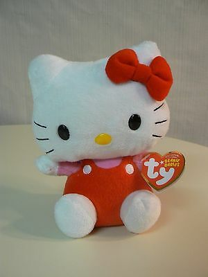 TY BEANIE BABIES Plush By Sanrio 40817 ORIGINAL HELLO KITTY RED OVERALLS