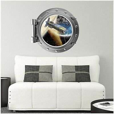 Full Colour Space Porthole Planet Astronaut Spaceship Wall Sticker WSD1221