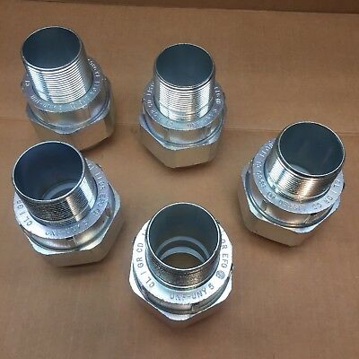 Lot Of 5 Crouse Hinds #unf-Uny 5 Of 1- 1/2 Union Fitting Male/fem-Conduit Union
