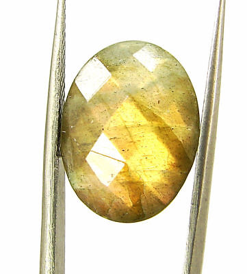 8.45 Ct Natural Labradorite Loose Faceted Gemstone Oval Checker Cut - 18774