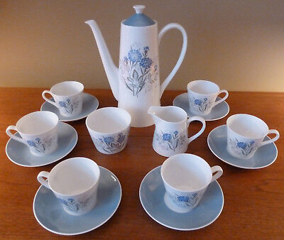 Cheerful Royal Tuscan CORNFLOWER coffee pot, sugar, creamer, 6 cup/saucer sets