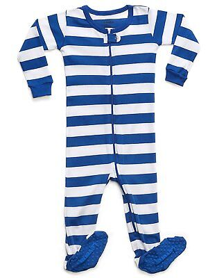 c9d44a689 LEVERET BABY BOYS Blue Navy Striped Fleece Footed Sleeper Pajama ...