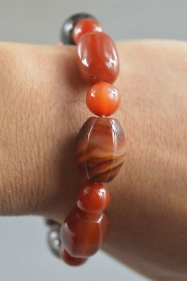 Exquisite Collectable Handwork Jade Carve Texture Glossy bead Lucky Bracelet
