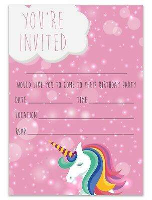 UNICORN BIRTHDAY PARTY Invitations Invites Children Pink Girls Kids