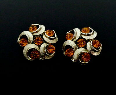 1960s Bernstein Farbe Strass Elegante Ohrclips Ohrringe Boucles d'oreilles