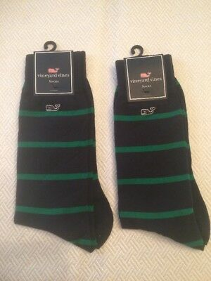 2 Pair of Vineyard Vines Men's Socks NWT Blue With Green Strips