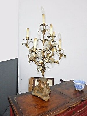 Extra TALL Vintage French Provincial Golt Gilt TABLE LAMP  7 Lights w Crystals