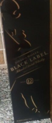 JOHNNIE WALKER BLACK LABEL BLENDED SCOTCH WHISKY Empty 1L Bottle & Box 12 YEARS