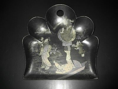 @-@ ANTIQUE CHINESE CIRCUS ACT PAPER MACHE CRUMB CATCHER TRAY 1880s CHIPPED  @-@